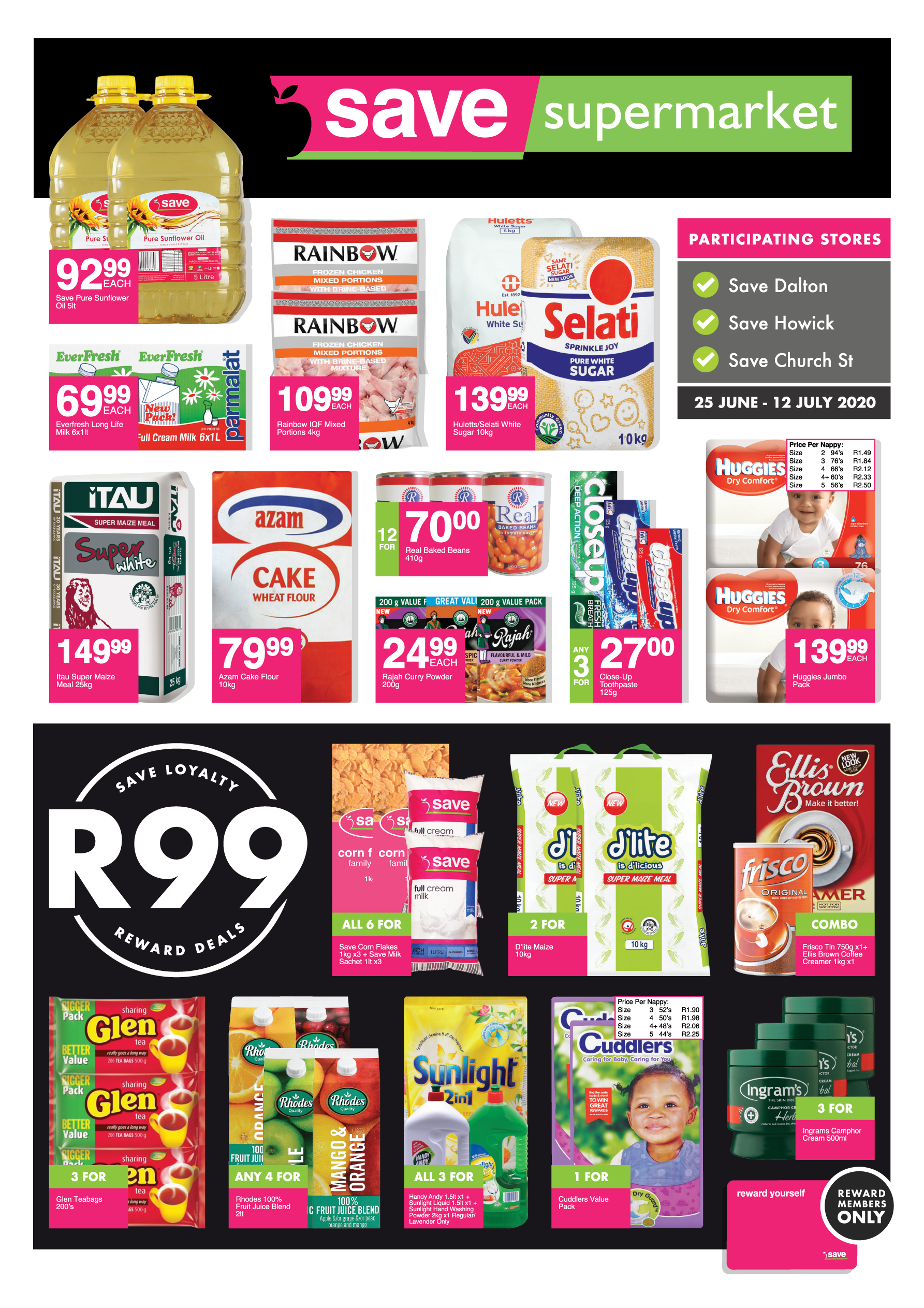 Supermarkets<br>Church/Howick/Dalton Specials <br> - valid from 25 June<br>until 12 July 2020