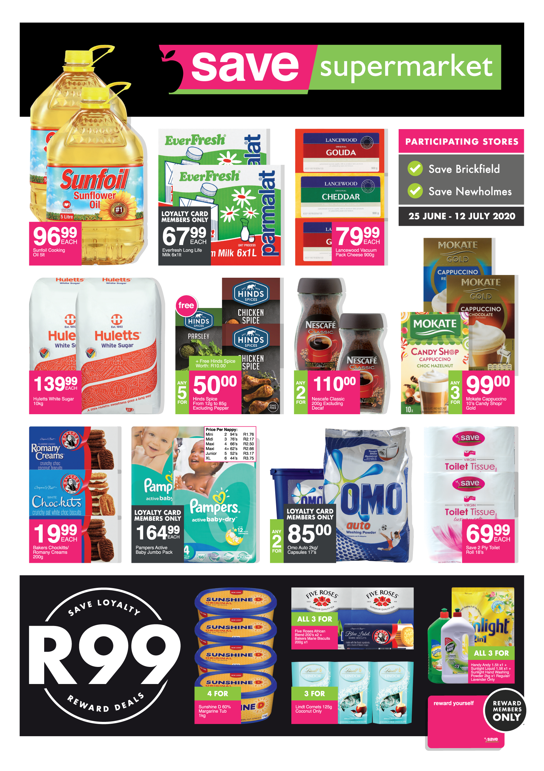 Supermarkets<br>Brickfield/Newholme Specials <br> - valid from 25 June<br>until 12 July 2020